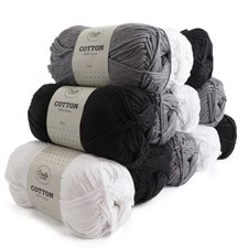 Adlibris Cotton Garn 100g Black & White 12-pack