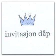 Innbydelseskort til dåp med Konvolutt 12,5x12,5 cm 6 stk Blå