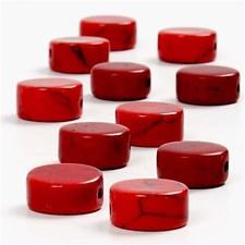 Kivihelmet, halk. 12 mm, aukon koko 1 mm, 1 lanka, punainen