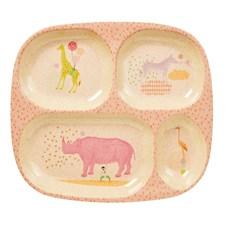 4-delt tallerken, Animal, Lyserosa, Rice