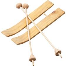 Ski med staver, str. 11x3,8 cm, furu, 3par