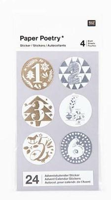 Stickers till Julkalender Guld och Silver 4 ark