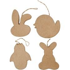 Påskdekorationer, kaninhuvud, kyckling, kyckling i ägg och hare, H: 10 cm, 4st.