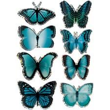 3D Stickers, stl. 20-35 mm, blå, fjäril, 8st.