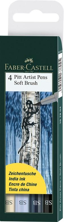 Soft Brush Pen Pitt Artist Faber-Castell Etui 4 st Gråtoner