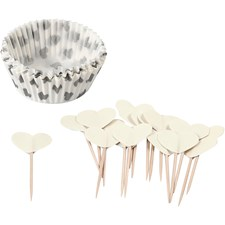 Muffinsformer, dia. 5 cm, H: 3 cm, 24 sett, råhvit
