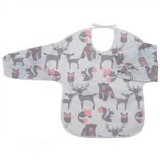 Haklapp med ärm/förkläde Skogsdjur, grå/rosa, Rätt Start