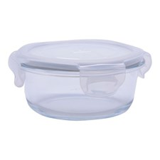 Glasskål m/plastlokk , 0,4 L, Rund
