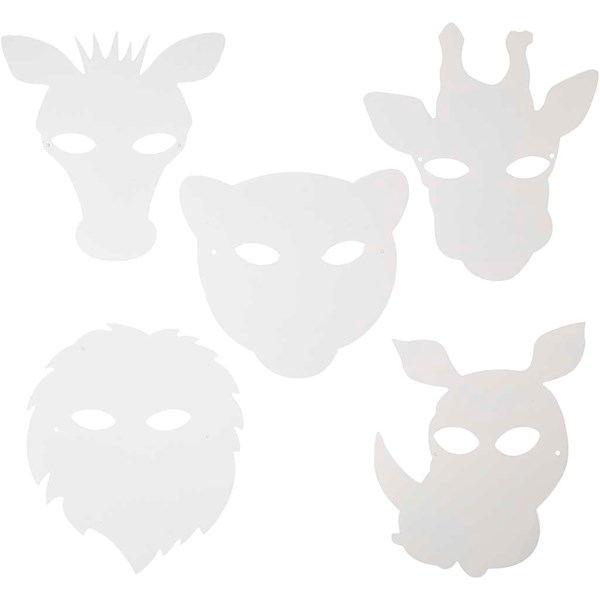 Djungelmasker, H: 22,5-25 cm, B: 20,5-22,5 cm, vit, 16st., 230 g