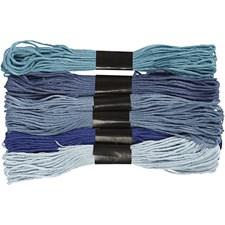 Harmoni broderigarn, tykkelse 1 mm, 6 bunter, blå harmoni