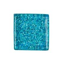 Glasmosaik 10x10 mm Azurblått Glitter 185 g