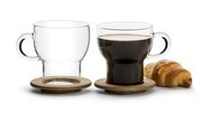 Sagaform Oak Glasmugg med Ekunderlägg 25 cl 2-pack Klar