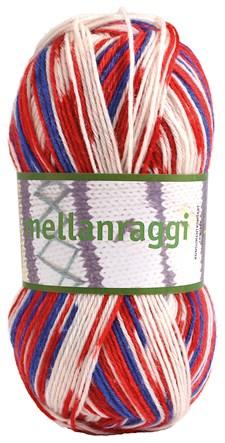 Mellanraggi Garn Ullmix 100g Norge Blå/Röd/Vit Print (28338)