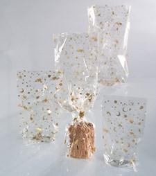 Sellofaanipussi kultaisella joulupainatuksella 95 * 160mm 10 kpl / pakkaus