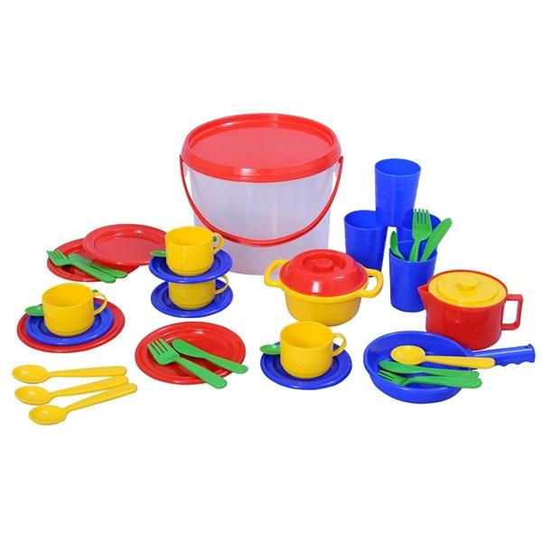 Plasto-bøtte med kjøkkenleketøy, Plasto