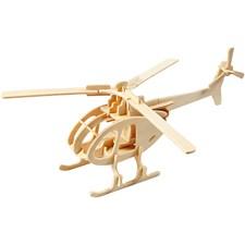 3D Puzzle, helikopter, str. 26,5x14x26 cm, kryssfiner, 1stk.
