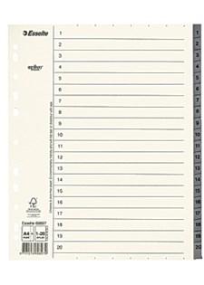 Pappregister 1-20 A4+ Grå