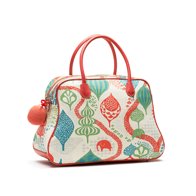 Littlephant Saga Forest Day Bag SkinnBomull 40x40x20 cm VitRöd