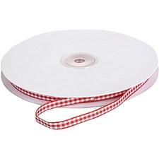 Rutete bånd, B: 6 mm, 5 m, rød/hvit
