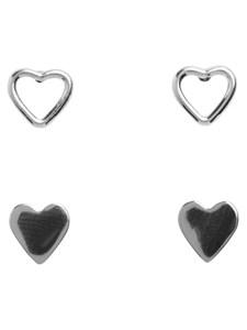 Örhängen, Hjärtan, 2-set, Silverfärgade