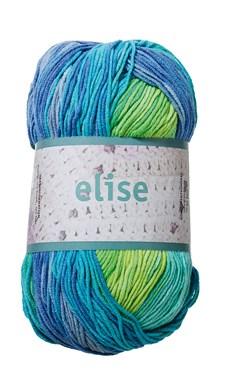 Elise Garn Bomullsmix 100g Lime/Turkos/Blå Batik (69011)