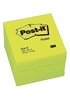 Notater POST-IT neon 76x76 mm gul