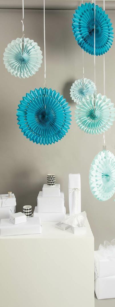 Dekorationsrundlar, Rico, Papper, 40/30/25 cm, Blå och Gröna nyanser, 3 st.