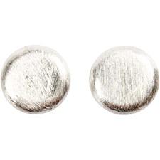 Flat, str. 10x10x3 mm, hullstr. 1,2 mm, 6 stk., børstet sølv
