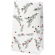Paperipussi, kork. 21 cm, koko 6x12 cm, vihreä, valkoinen, metallic punainen, Kuusen oksa ja joulupallo, 8kpl