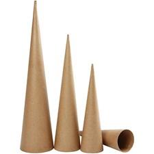 Høye kjegler, H: 30-40-50 cm, dia. 8-9-11,5 cm, 3 stk.