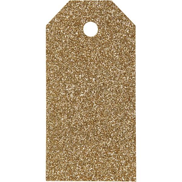 Pakettietiketit, koko 5x10 cm,  300 g, kulta, kimalle, 15kpl