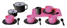 Kaffeservis på bricka, Rosa/svart, Plasto