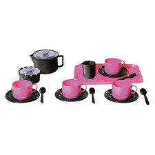 Kaffeservise med brett, Rosa/svart, Plasto