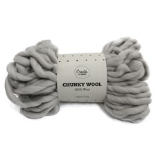 Adibris Chunky Wool Garn Light Grey 200g A135