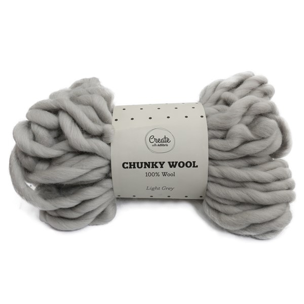 Adlibris Chunky Wool lanka Light Grey 200g A135