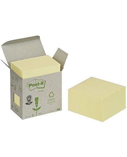 Notater kube POST-IT 100% resirkulert 76x76 gul