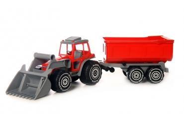 Traktor med frontlastare och släp  Röd  Plasto - sandlådeleksaker
