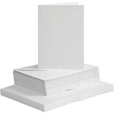 Kort og konvolutter, kort str. 10,5x15 cm, konvolutt str. 11,5x16,5 cm, hvit, 50sett