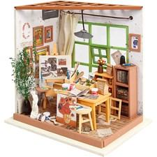 DIY minihuone ateljee, kork. 19 cm, lev. 19 cm, 1 kpl