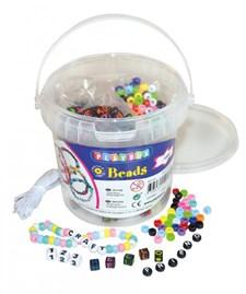 Bokstavperler i bøtte, Ca. 1000 perler, 4 sorter, Playbox