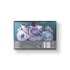 Winsor & Newton Cotman akvarellivärit ja postikorttipohjat lahjapakkaukessa