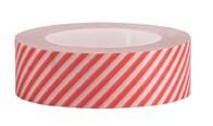Teip Hvit / Neonrød Stripete, 15 mm x 10 m