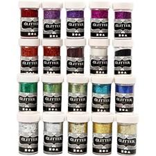 Glitter, 20x20 g, ass. Farger