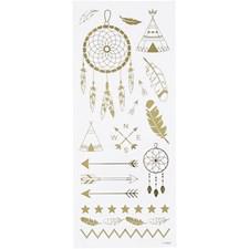 Stickers, guld, indianer, 10x24 cm, 1 ark