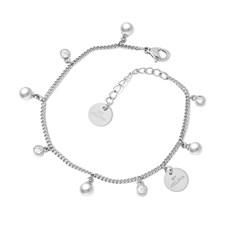 Liz Charm Bracelet, Pearl Silver
