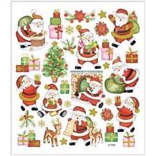 Stickers, ark 15x16,5 cm, ca. 32 stk., glad julenisse, 1ark