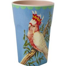 Rice Mugg Latte Melamin Vintage Cockatoo Print Beige