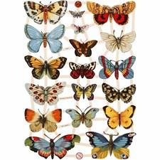 Glansbilder, ark 16,5x23,5 cm, sommerfugler, 3ark