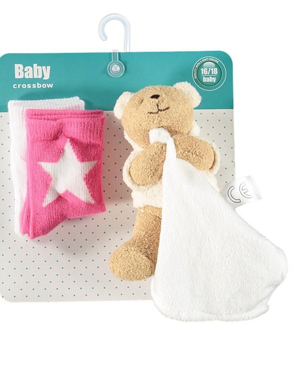 Presentkit Babystrumpa + Snuttefilt, Rosa/vit, Crossbow