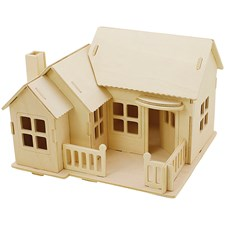 3D Pussel, Hus med terass, stl. 19x17,5x15 , plywood, 1st.